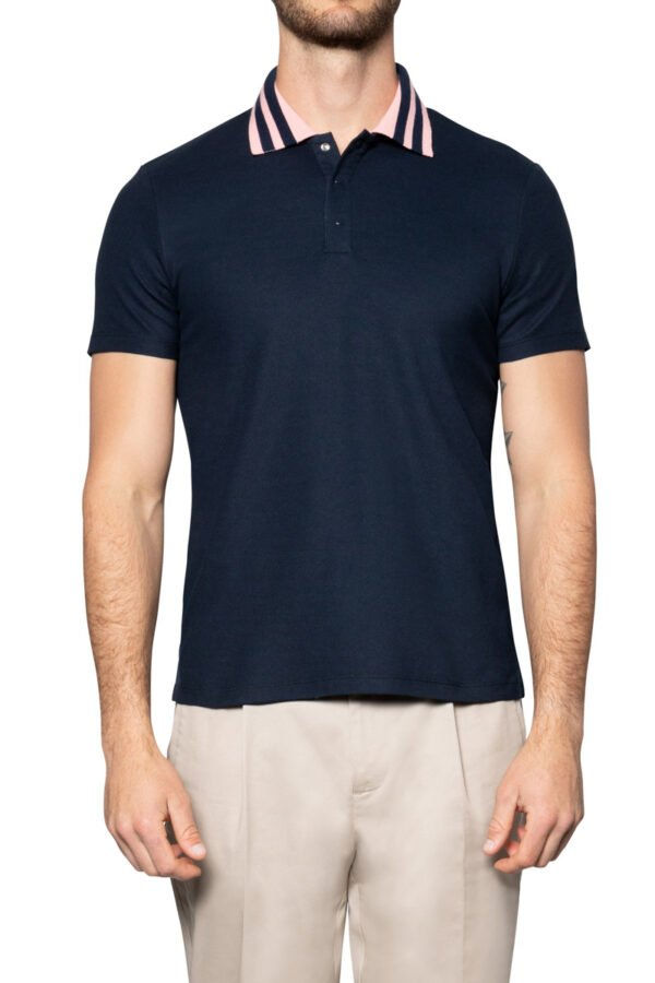 Kye Stripe Collar Merceried Piquet Polo Navy