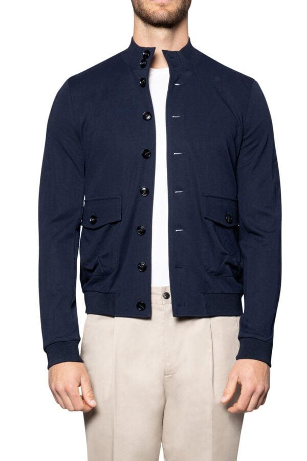 Jax Jersey Button Bomber Navy