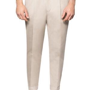 Jay Draw Waist Cuffed Stretch Cotton Pant Stone
