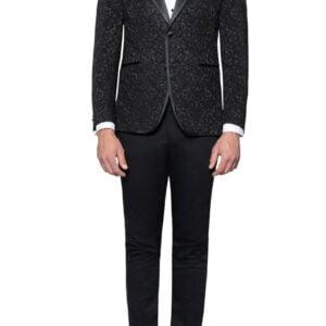 Adam Lace Brocade Tuxedo Jacket Black