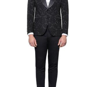 Luis Brocade Tuxedo Jacket Black