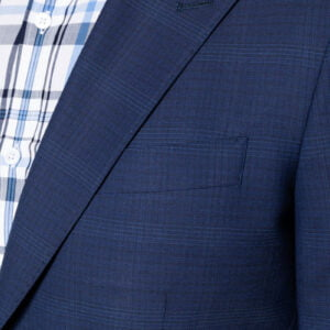 Theo Fine Check Suit Jacket Navy