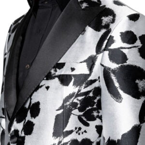 Jac Graphic Tuxedo Jacket Black White
