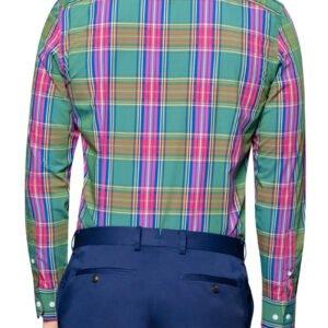 Ned Bright Check Shirt Pink Green