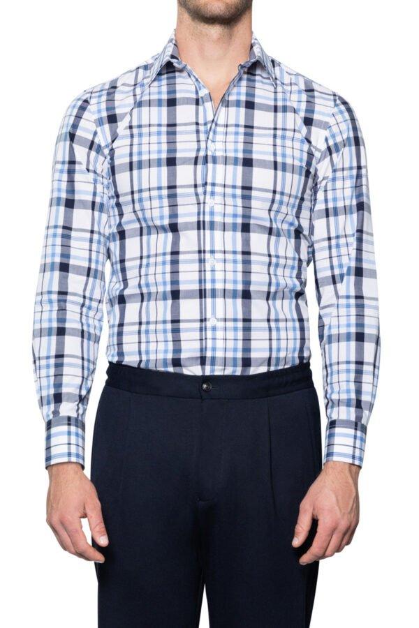 Otto Irregular Check Shirt Navy Blue