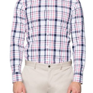 Otto Irregular Check Shirt Navy/Pink