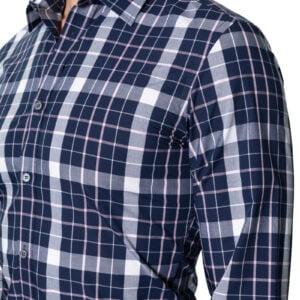 Pat Block Check Shirt Navy Pink