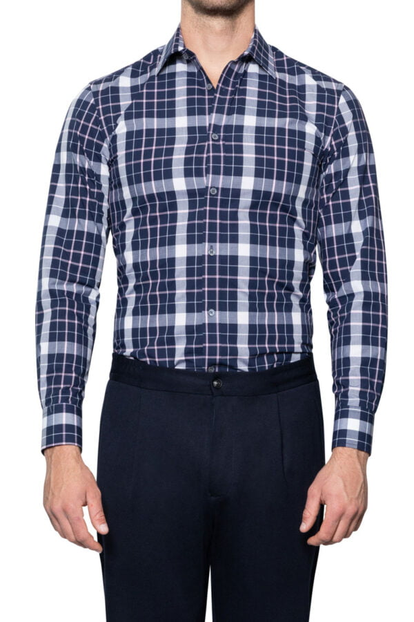 Pat Block Check Shirt Navy/Sky