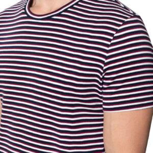 Rodney Stripe Rib Tee Navy Dark Red