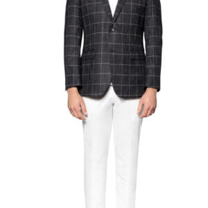Rory Chalk Check Jacket Black White