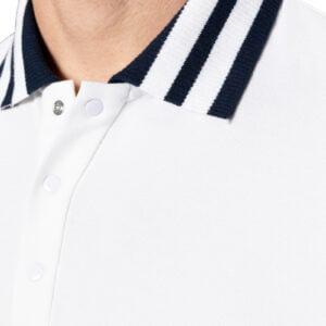 Kye Stripe Collar Merceried Piquet Polo White