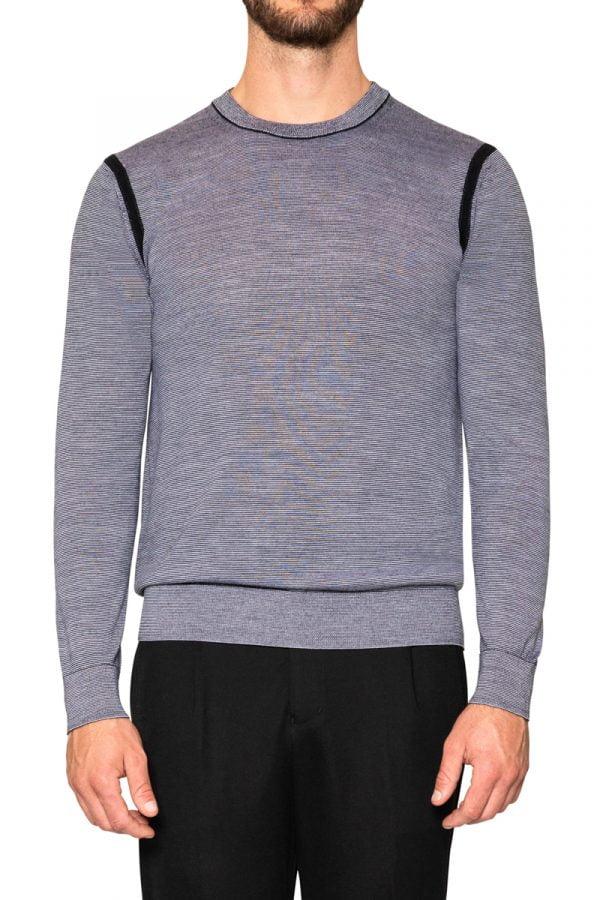 Jake Micro Stripe Crew Knit Black/White