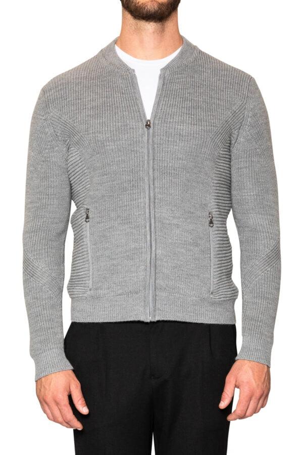 Jake Knit Biker Jacket Light Grey