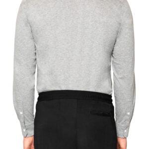 Kye Mercerised Long Sleeve Polo Light Grey