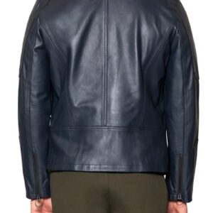 Royce Leather Biker Jacket Navy