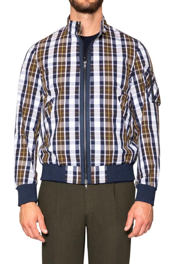 James Check Zip Jacket Navy/Tan