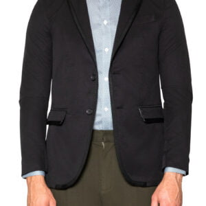 Leo GG Trim Cotton Blazer Black
