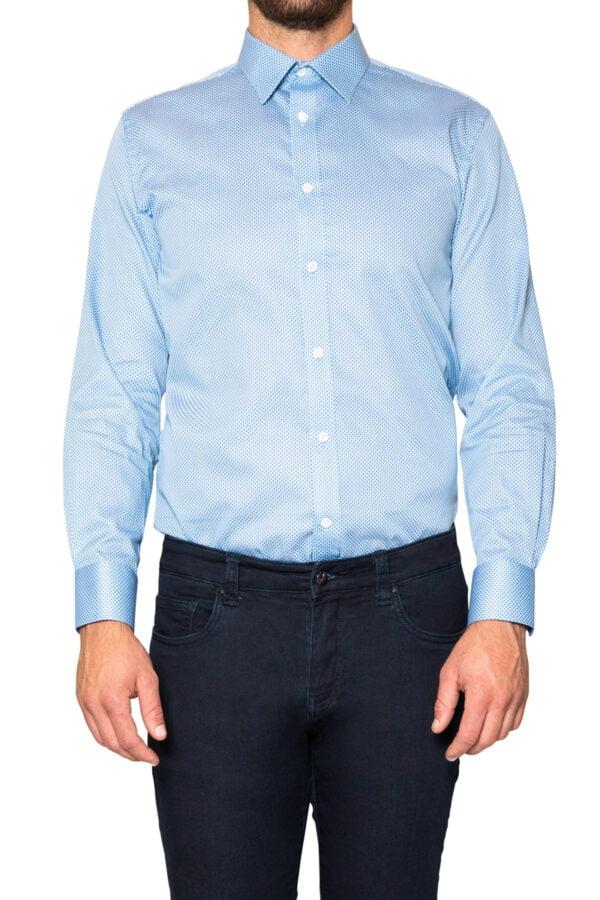 Hans Weave Print Shirt Blue
