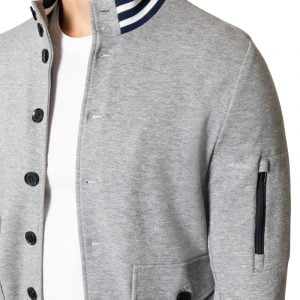 Jax Jersey Button Bomber Jacket LIGHT GREY
