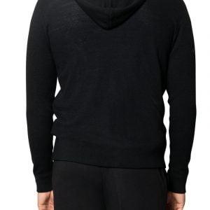 Jake Waffle Hooded Knit Black