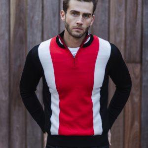 Jake Tritone Zip Knit Red/Black