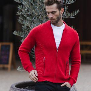 Jake Knit Biker Jacket Red