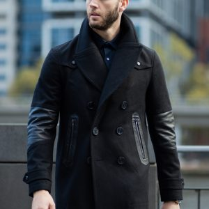 Biker Pea Coat Black