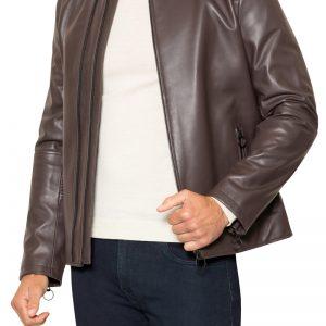 Royce Double Zip Leather Jacket Chocolate
