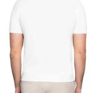 Dan Split Neck Knitted Polo White