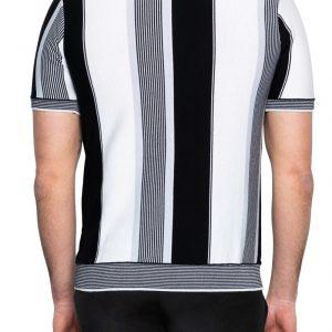 Dan Stripe Zip Neck Polo Black/White