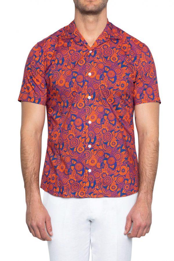 Hank Cuban Collar Printed Shirt ORANGE/NAVY